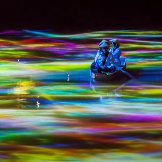 小舟とともに踊る鯉によって描かれる水面のドローイングと蓮の花 - Mifuneyama Rakuen Pond (PCM 48kHz/24bit)