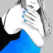 スカートの色は青
