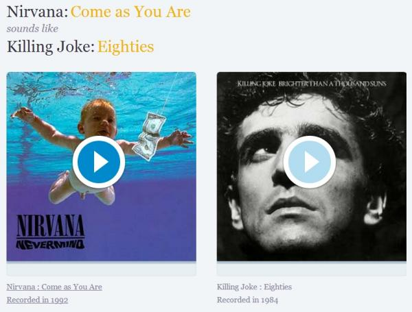 メロディやリフがそっくりな曲たちを紹介してくれるサイトが登場