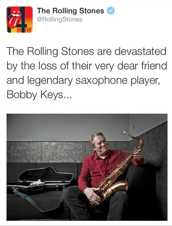 【訃報】ローリング・ストーンズで活躍したボビー・キーズが死去