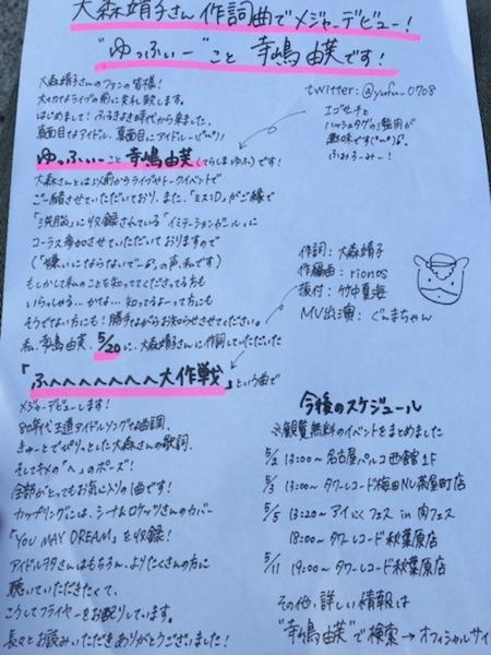 ゆっふぃー、大森靖子ツアー・ファイナル会場でチラシ配り