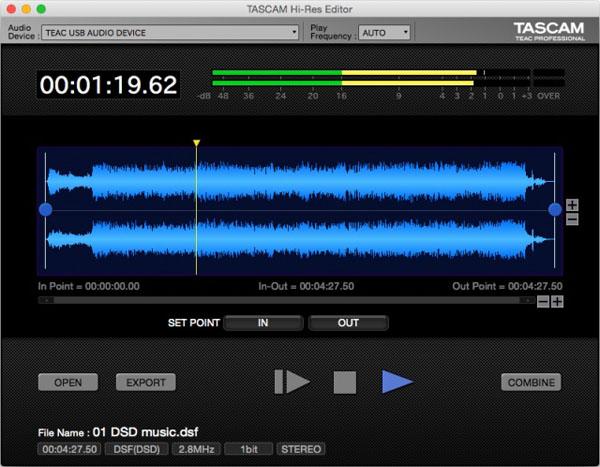 Mac版もついに! DSD11.2MHz/PCM 384kHz 32bit 対応、TASCAMのフリー音声データ・エディタ!
