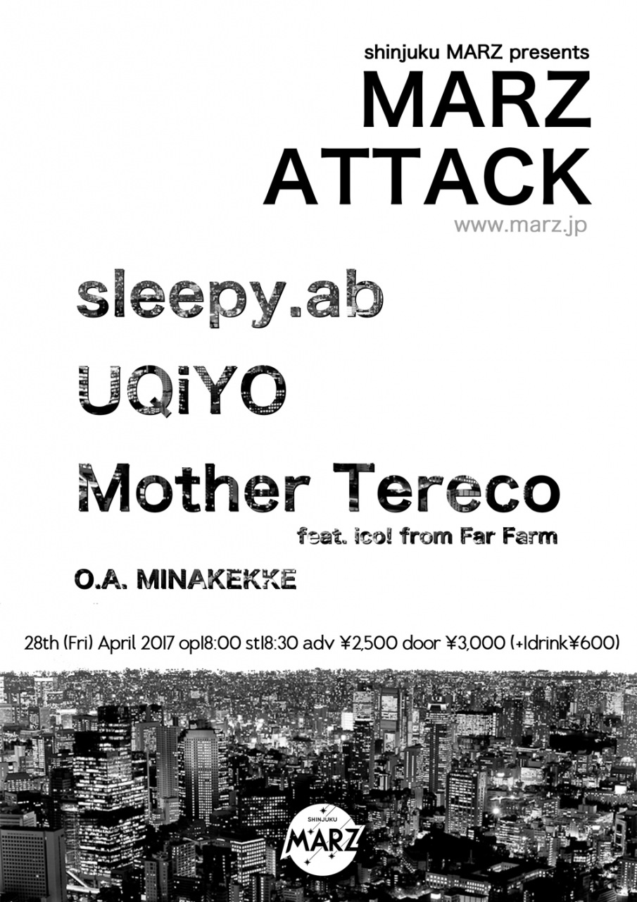 sleepy.ab、UQiYO、Mother Terecoが4/28に新宿MARZにて3マンライブ開催決定