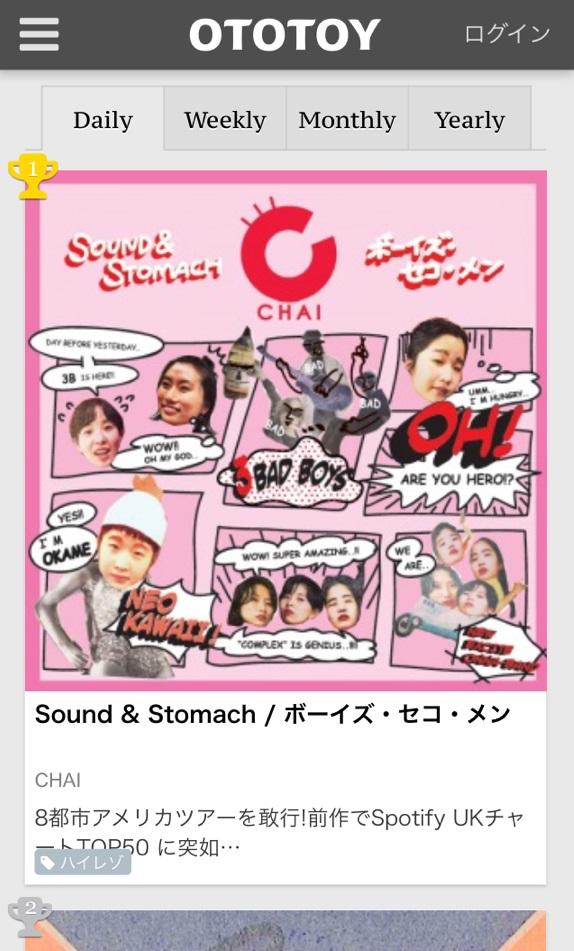 """CHAI、""""TOYOTOY""""からリリースの新曲がOTOTOYにて1位獲得!"""