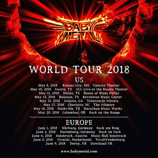 BABYMETAL、新章幕開け!アメリカ&ヨーロッパをまわる世界ツアー決定