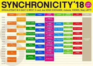 4/7(土)『SYNCHRONICITY'18』最終ラインナップでフレンズ、Yasei Collectiveら12組決定 タイムテーブルも発表